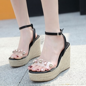 Fashion New Women's Shoes 11cm High Heels Rhinestone Platform Wedges Heel Open Toe Women's Sandals