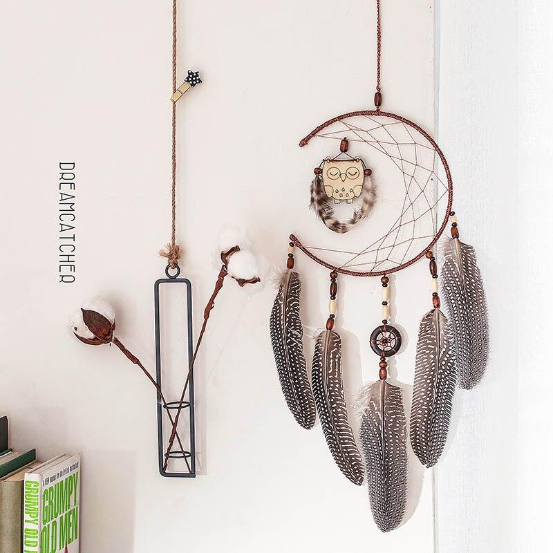 Decoración Para habitación, atrapasueños de búho, decoración interior para el hogar, colgante para dormitorio, pluma India, atrapasueños para chica, regalos de San Valentín