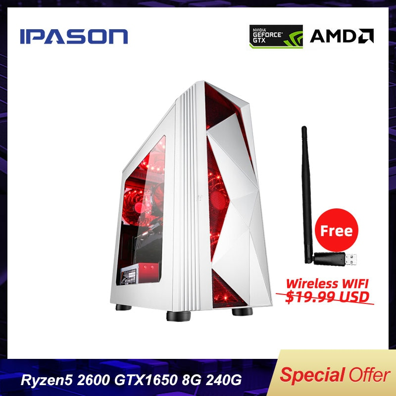 IPASON P81 Desktop Computer AMD 6-Core Ryzen5 2600 Gaming PC /Upgrading GTX1650 4G/DDR4 8G/240G SSD Barebone Assembly Gaming PC