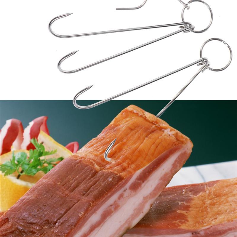 Ganchos en forma de S de acero inoxidable 5 uds y ganchos dobles para Bacon Hams procesando carne gancho de carnicero