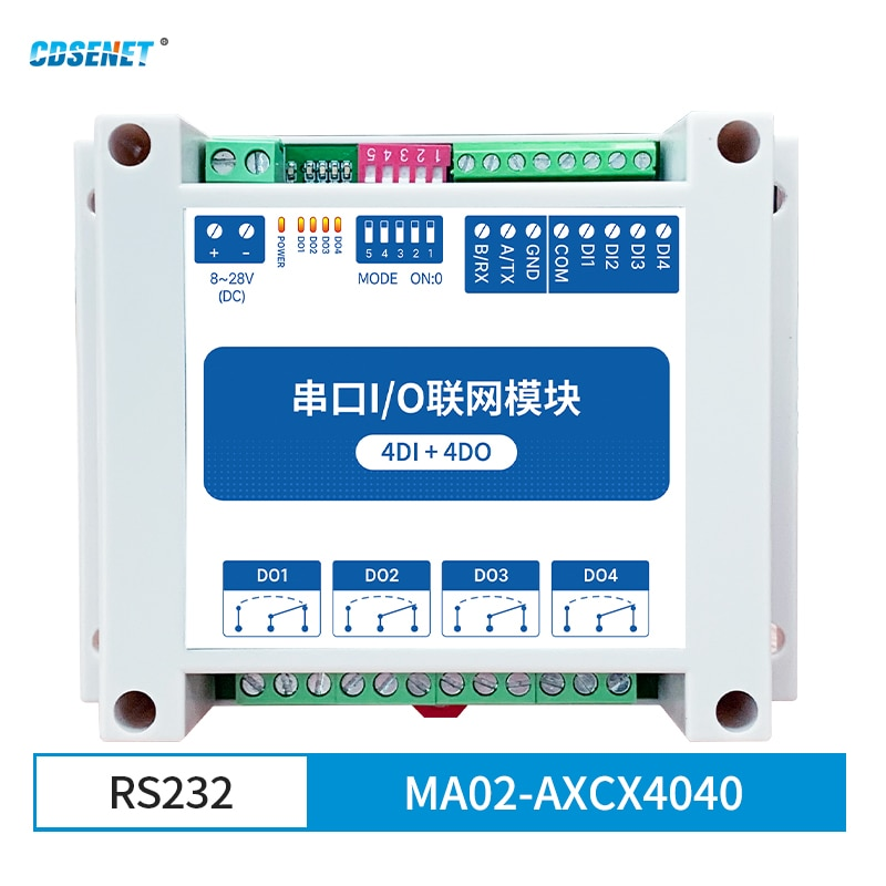 4DI + 4DO Modbus RTU Industrial Grade Serial Port I/O Networking Module RS232 Data Acquisition and Monitoring MA02-AXCX4040 8 way analog data acquisition input 6 relay output 220vac modbus rtu module serial port 485