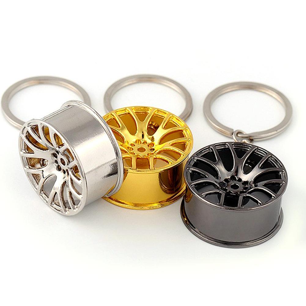 Car Tire Wheel Hub Rim Model Keychain Mini Car Wheel Hub Auto Logos Key Chain Zinc Alloy Polishing Electroplating Keyring