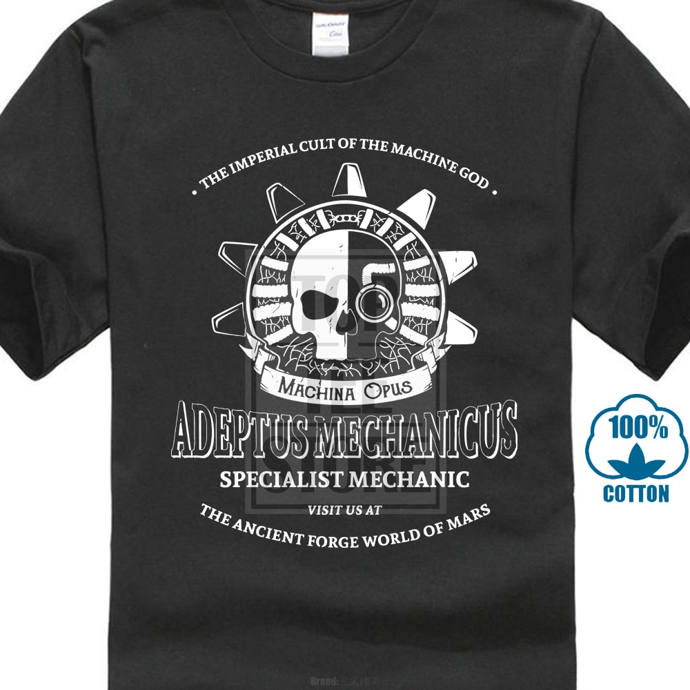 Camisetas estampadas de algodón para hombres, camisetas de cuello redondo, de manga corta, camiseta para mujeres Adeptus Mechanicus, camisetas clásicas de dibujos animados de algodón