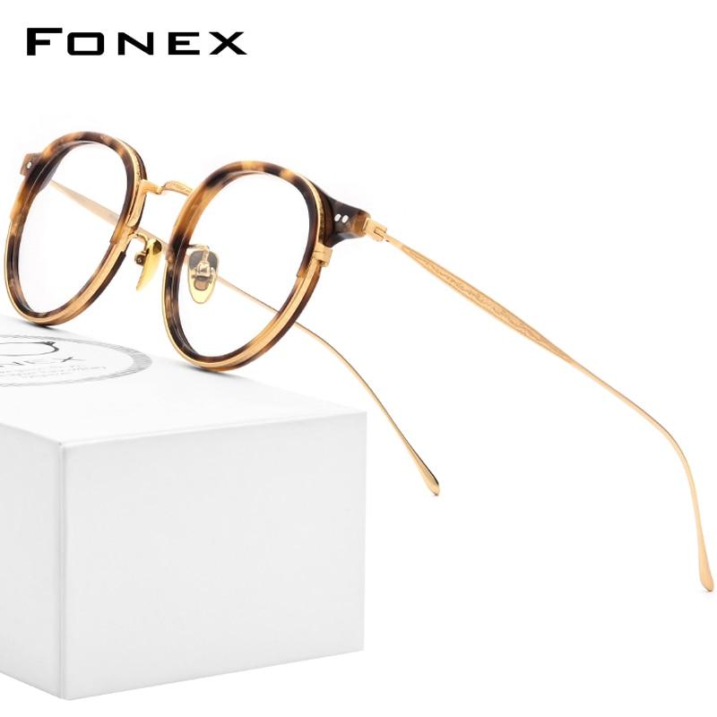 FONEX-إطار نظارة دائري عتيق للنساء والرجال ، عدسات بصرية من التيتانيوم ، وصفة طبية ، قصر النظر ، أسيتات ، 850