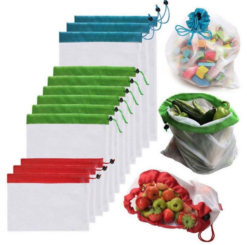 1 Uds Malla reutilizable bolsa de compras de comestibles bolsa ajustable Cadena de poliéster bolsa de almacenamiento de vegetales bolsas de malla para compras