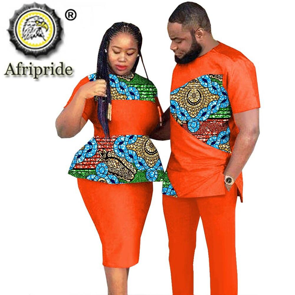 AFRIPRIDE-ملابس للأزواج الأفارقة ، ملابس رجالية ونسائية ، ملابس حفلات الزفاف ، طباعة شمع أنقرة ، أزياء أفريقية ، S20C010