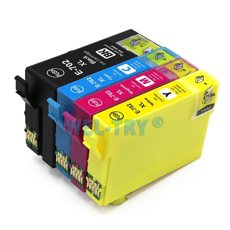 Cartucho de tinta Compatible para impresora EPSON 702 T702 XL para mano de obra Pro WF-3720 WF-3725, tinta completa con chips