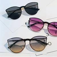 2021 retro gradient rivet sun glasses women big frame rimless cat eye classic sunglasses female luxury designer glasses uv400