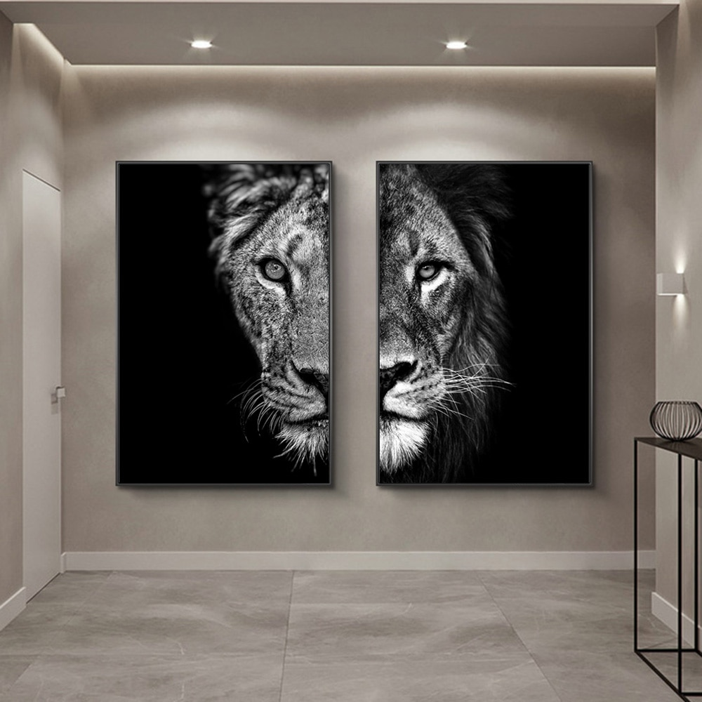 Black and White African Lion Canvas Paintings on the Wall Art Posters and Prints Animals Modular Pictures For Living Room Cuadro