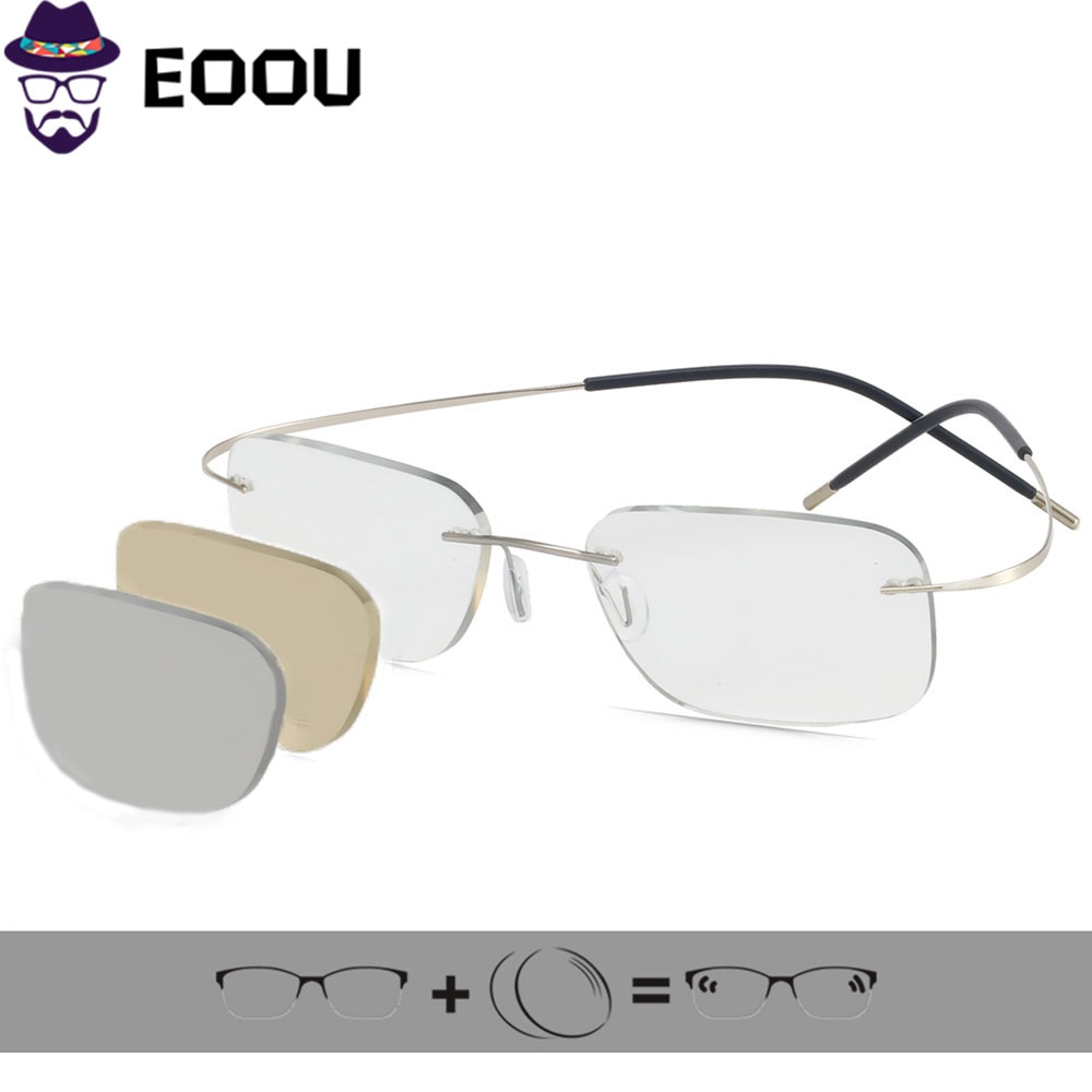 Photochromic lens Rimless Glasses Men's Women Optical Glasses Prescription Anti blue light Oculos My