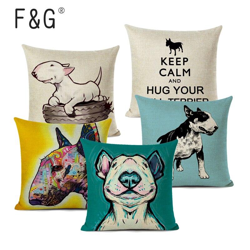 Чехол для подушки Бультерьера, льняные подушки с принтом милой собаки, декоративный чехол для автомобиля, дивана, чехол для домашнего декор... чехол