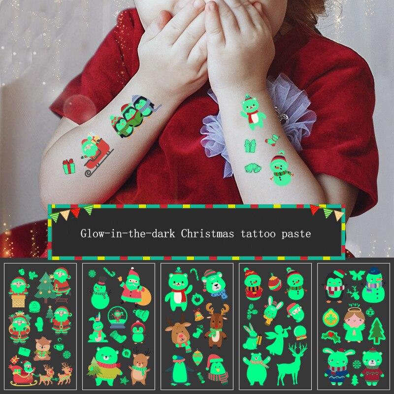 Nuevas pegatinas de Navidad que brillan en la oscuridad, pegatinas kawaii 2019 para chico s, pegatinas de tatuaje brillantes para el cuerpo del chico