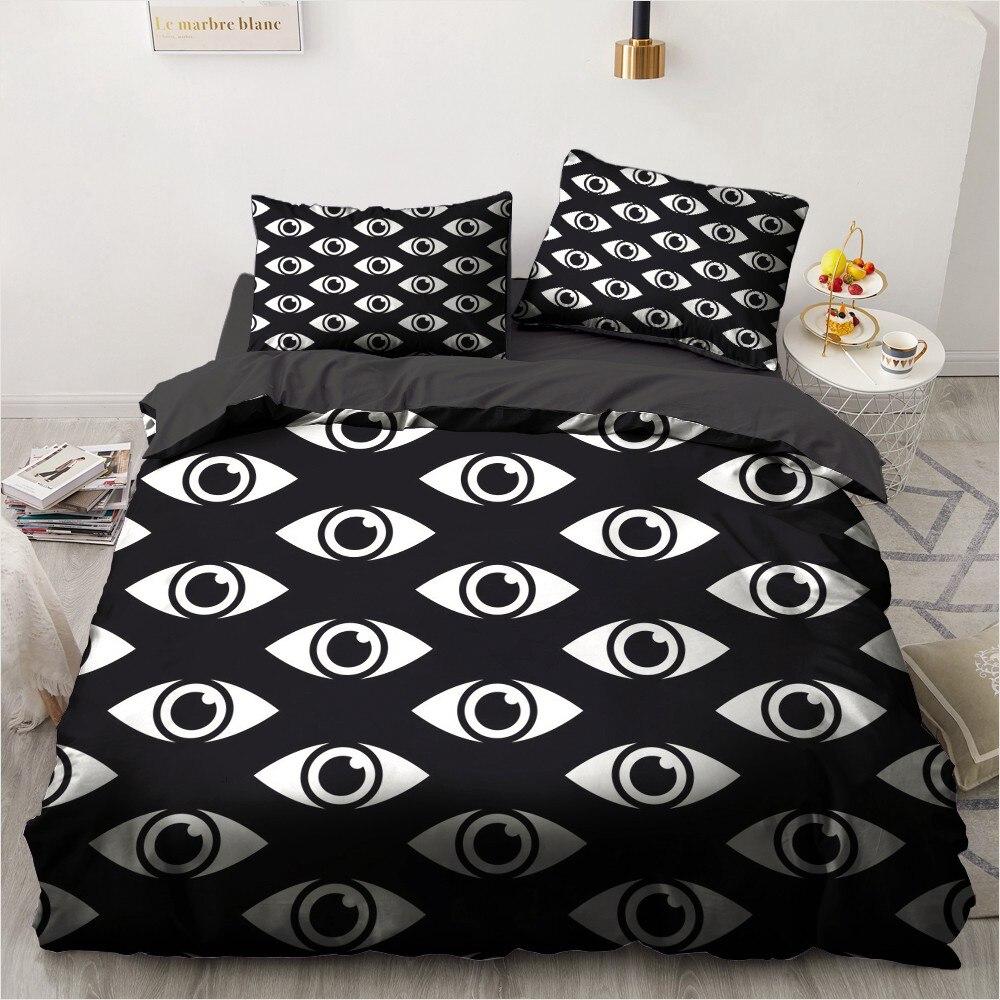 ثلاثية الأبعاد طقم سرير حاف طقم أغطية عين الشر تصميم الملك الملكة كامل التوأم مزدوجة حجم واحد 173x230 سنتيمتر أغطية سرير أسود مفارش