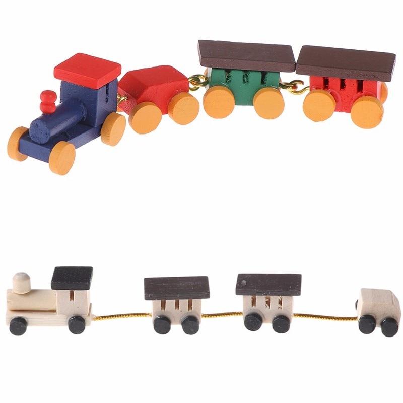 Bonito pintado trem de madeira conjunto locomotiva compartimento carruagens brinquedo 112 dollhouse jogar decoração da casa boneca ativo