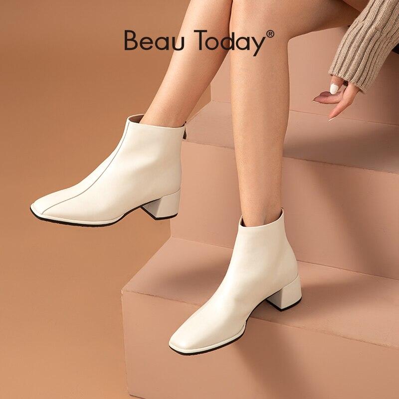 BeauToday-حذاء نسائي من الجلد الطبيعي بكعب عالٍ ، حذاء بكعب عالٍ بمقدمة مربعة ، بسحاب خلفي ، صناعة يدوية ، 03858