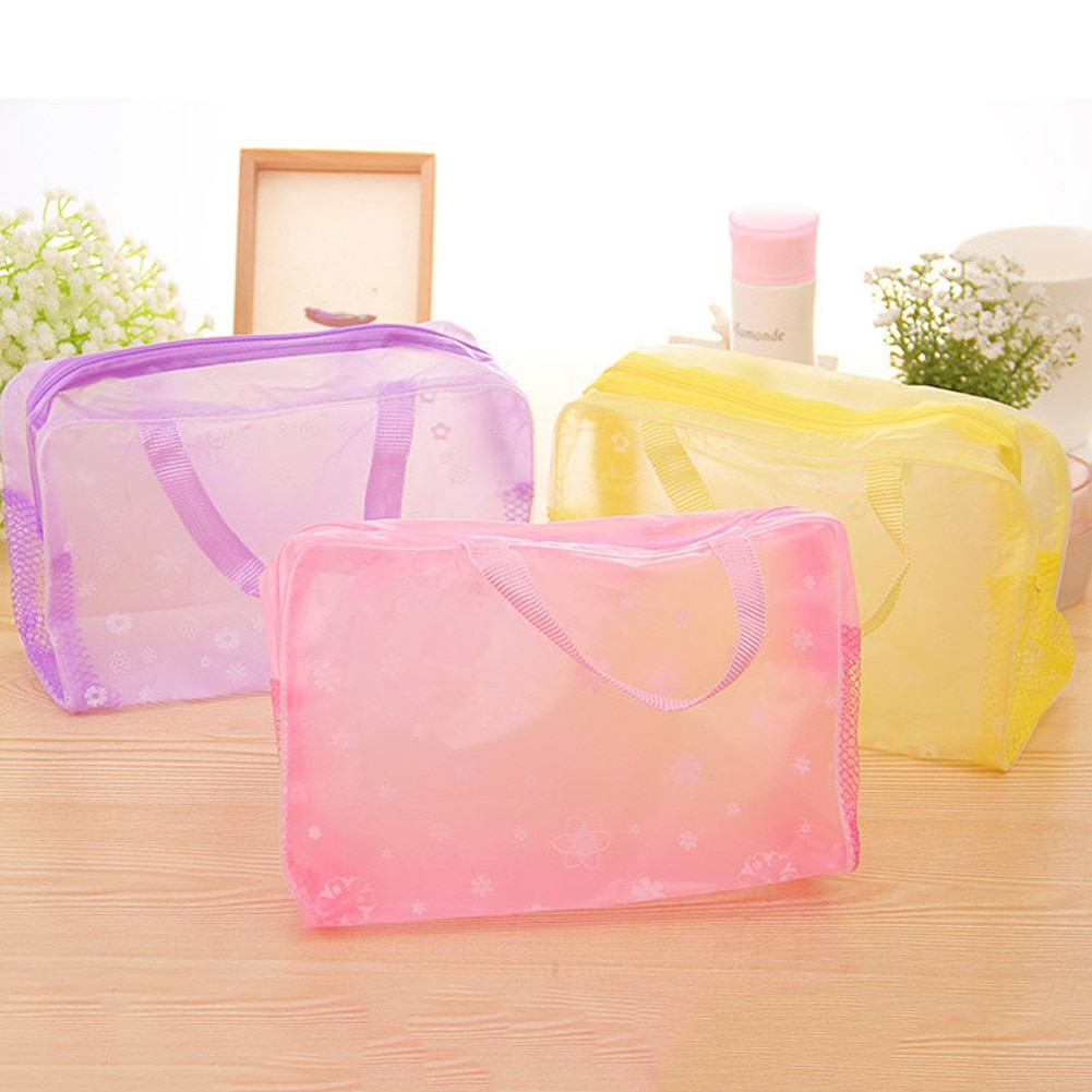 simple waterproof canvas makeup pouch fashion 2020 new cosmetic bag women makeup organizer toiletry bag travel cosmetics bag New Design Floral Print Transparent Waterproof Makeup Cosmetic Bag Travel Wash Toothbrush Pouch Toiletry Organizer Bag