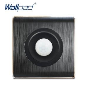 Wallpad Motion Sensor 220V 100W Wall Light Switch Black PC Brushed Panel For Home