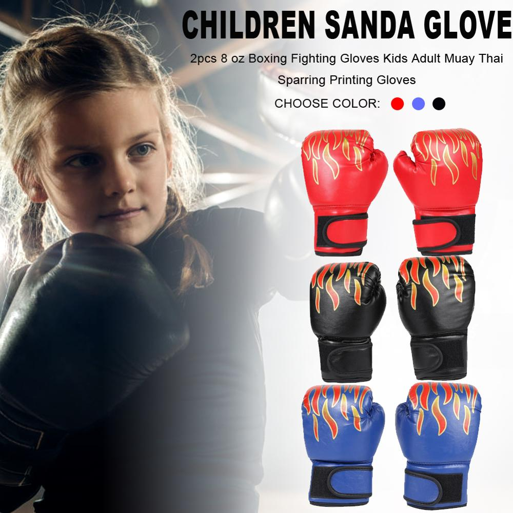 1 Pair Kids Children Boxing Gloves Professional Flame Mesh Breathable PU Leather Flame Gloves Sanda Boxing Training Glove
