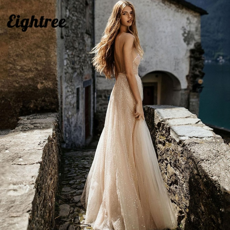 Eightree Sexy Wedding Dresses V Neck Glitter Sequins Bridal Dress Tulle High Split A-Line Backless Beach Wedding Gowns Plus Size