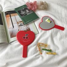 Cherry SPA Salon with Handle for Women Makeup Tool Heart-shaped Handheld Makeup Mirror
