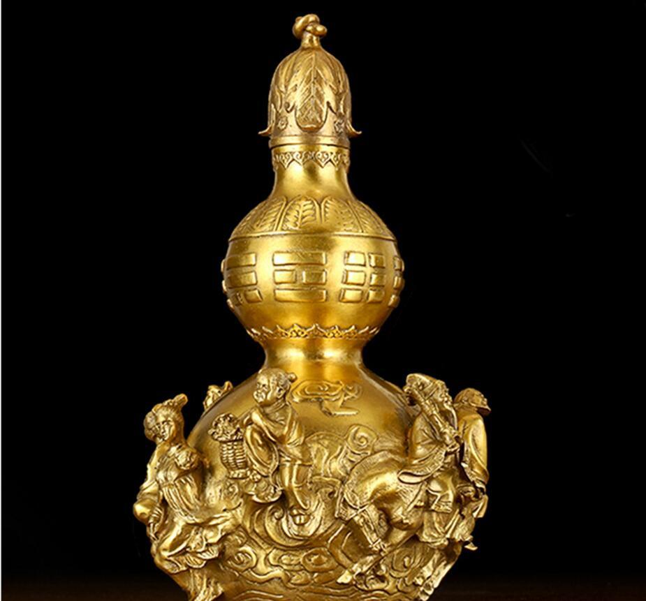 Estatua de cobre luz abierta calabaza de cobre puro ornamento Ocho inmortales calabaza de cobre Ocho inmortales Cruz del mar Fengshui houl