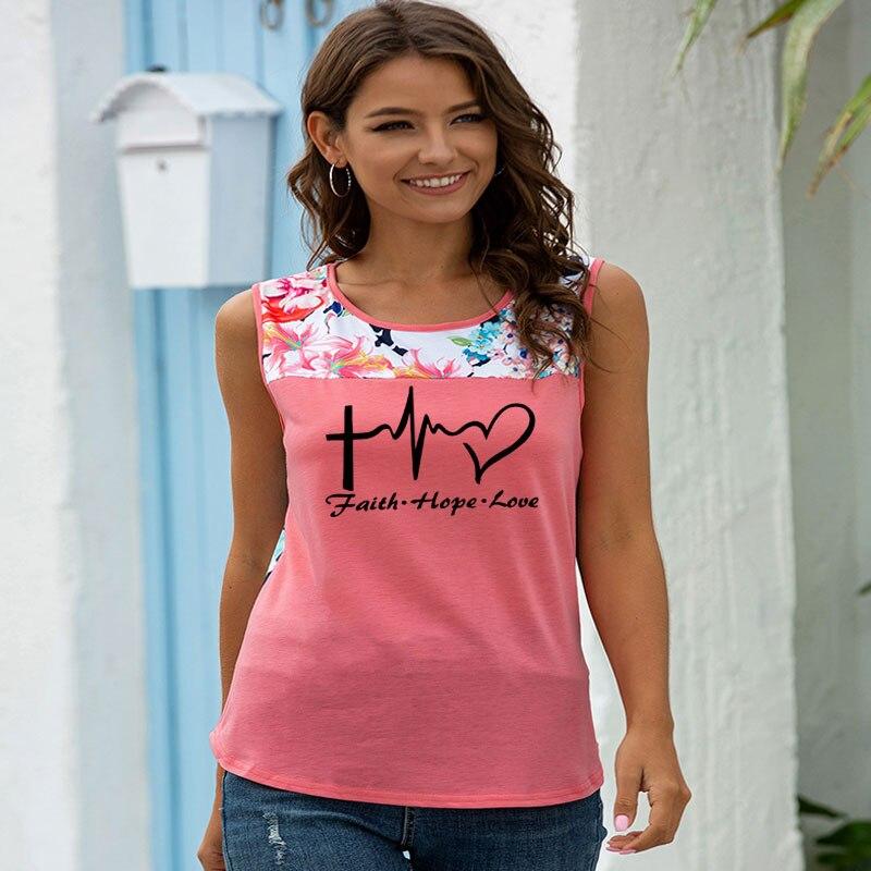 Camiseta de verano 2020 para mujer, Camiseta con estampado romántico faith hope, camiseta femenina divertida Harajuku sin mangas cultivarse, camisas gótica s-3XL
