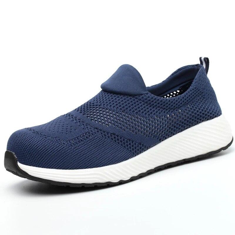 العمل التأمين أحذية الرجال عدم الانزلاق مكافحة ثقب حماية أحذية عمل واقية الصيف تنفس مزيل العرق الأحذية 36-45