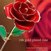 plated golden roses flowers for decoration 24k 24 k bed room home dekoration wedding decor decorative gifts to girlfriend mother