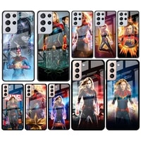 captain marvel for samsung galaxy s21 ultra plus a72 a52 4g 5g m51 m31 m21 luxury tempered glass phone case cover