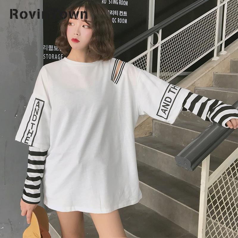 Harajuku camiseta mujer carta agujero blanco negro Hip Hop costura manga larga cuello redondo 2020 nuevo Casual envío gratis ropa coreana