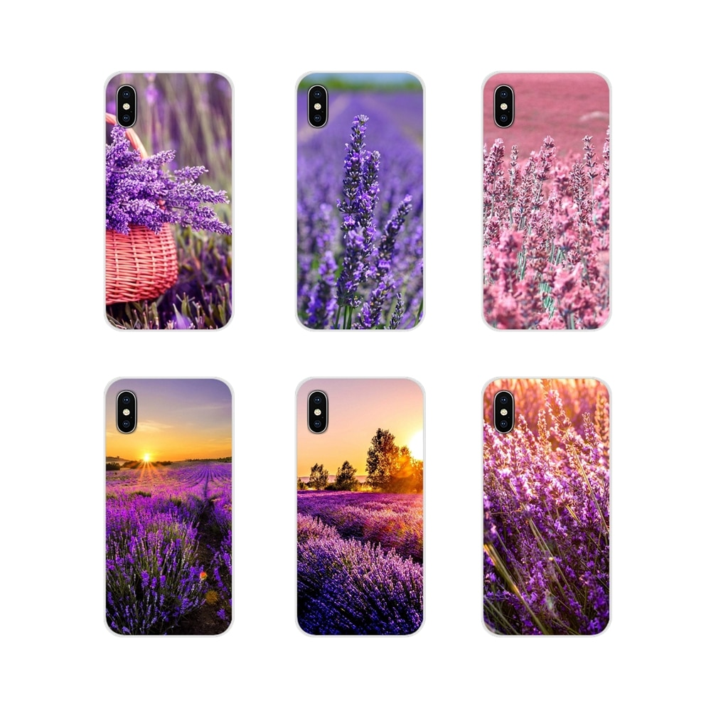 For Xiaomi Mi4 Mi5 Mi5S Mi6 Mi A1 A2 A3 5X 6X 8 CC 9 T Lite SE Pro Beautiful purple flower lavender Transparent TPU Cases Covers