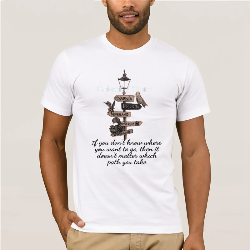 Fashion T Shirt 100% Cotton Narnia Hogwarts Neverland Panem Wonderland t shirt casual o neck loose summer T shirt for men