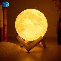 Lampe de chevet en forme de lune avec capteur tactile USB  impression 3D  luminaire decoratif dinterieur  romantique  Change de couleur  ideal pour une chambre a coucher ou une Table  2 16