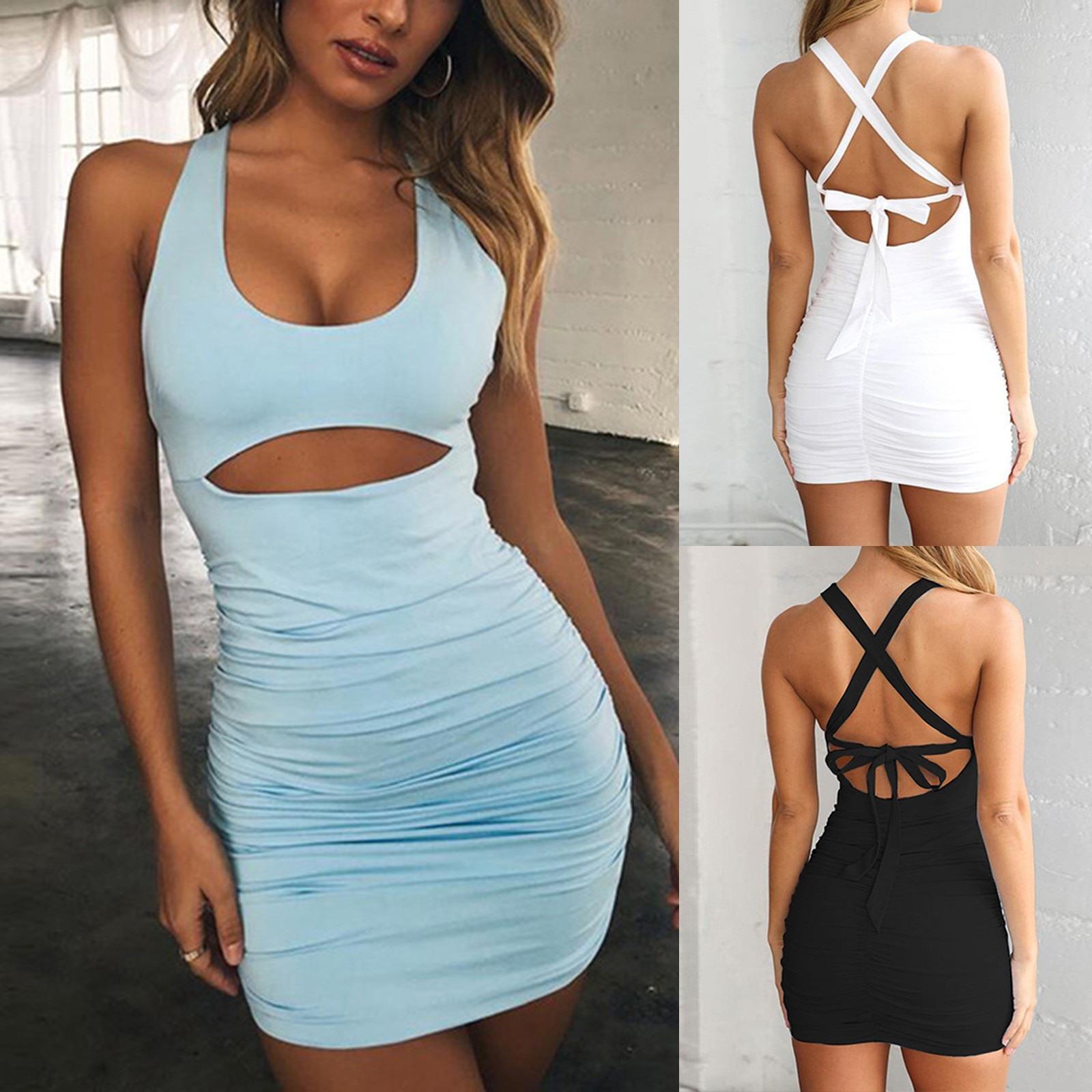 Sexy verano camisola con cintas vestido hueco sin respaldo espagueti sin mangas...