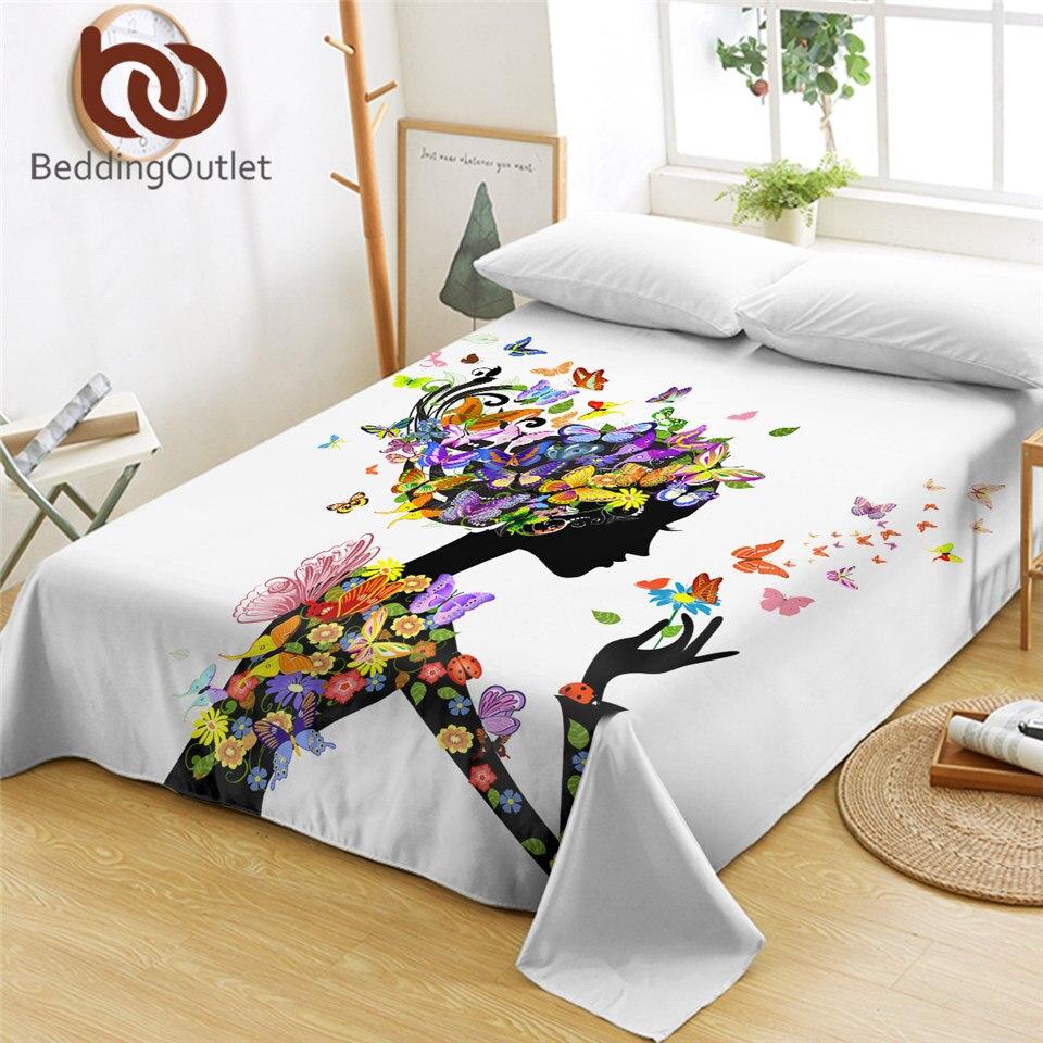 Beddingport جميلة فتاة ملاءات فراشة ورقة مسطحة الملونة الأزهار المنسوجات المنزلية الفاخرة لينة Sabanas كاما دروبشيب 1 قطعة