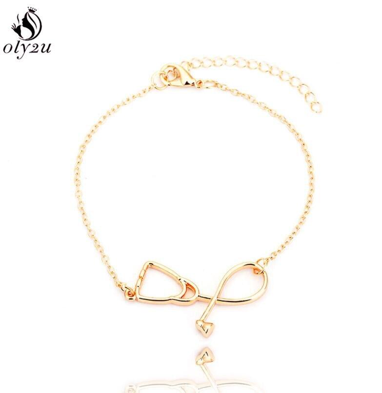 Oly2u pulsera estetoscópica médica única pulseras cadena ajustable joyería pulseras brazaletes regalo especial para Doctor