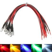 10 шт. 5 мм светодиодный 12 В 20 см Предварительно проводной белый красный зеленый синий желтый УФ RGB Диодная лампа декоративный светильник излу...