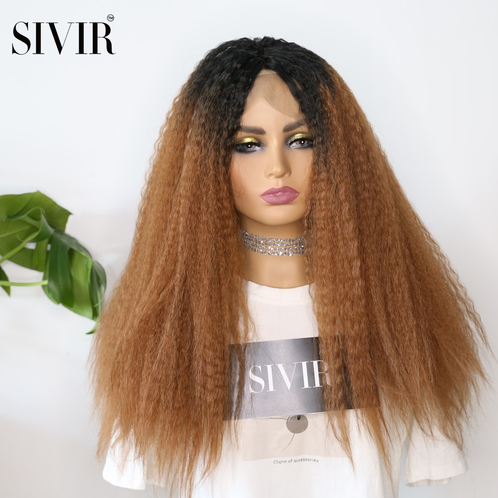 Sivir Synthetic Ombre Brown Blonde Color Long Kinky Straight Wig Lace Part Wigs With Natural Hairline Heat Resistant Fiber Soft