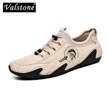 Valstone hakiki deri rahat ayakkabılar erkekler için kaliteli erkekler sneakers sürücü ayakkabı elastik dantel-up slip-on ayakkabı doğal cilt