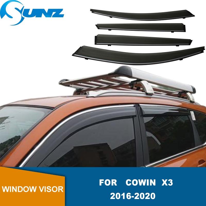 Window Visor Side Sun Rain Protection Shield Exterior Body Decoration Accessories For Cowin X3 2016 2017 2018 2019 2020 SUNZ