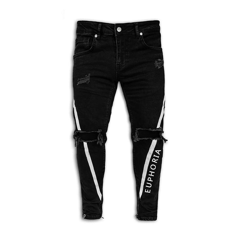 Pantalones Vaqueros rasgados negros para Hombre, pantalones Vaqueros desgastados elásticos con estampado...