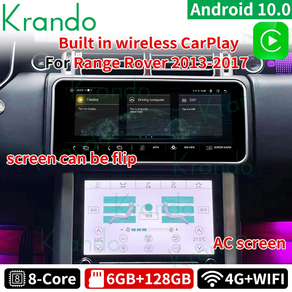 Krando 12.3 Android 10.0 6G 128G Car Radio For Land Rover Range Rover Vogue L405 Carplay 2013-2017 Head Unit LCD AC Panel