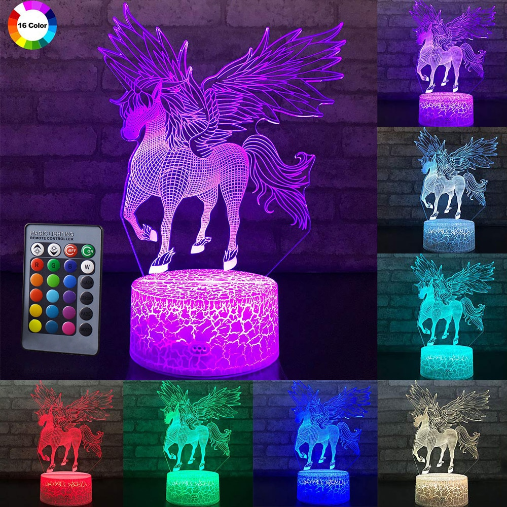 3W Remote Or Touch Control 3D LED Night Light Unicorn Shaped Table Desk Lamp Xmas Home Decoration  Lovely Gifts For Kids D23