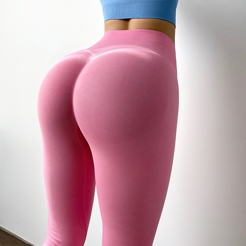 NORMOV New Sexy Candy Colors Fitness Leggings Women Quick Dry High Waist Slim Workout Jeggings Female Push Up Leggins Elastic