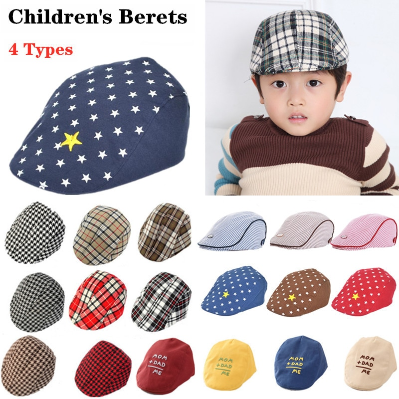 boys stripe 4 Types Optional Children's Berets Baby Cotton Printed Stripe Peaked Hats Boys And Girls Accessories