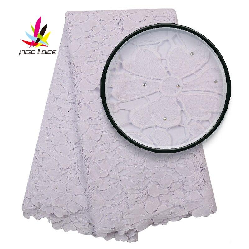 2019 Wholesale Tissue Cord Lace Nigeria Lace White Color Milk Silk Lace for Women Dresses Bridal Wedding Lace Material XZ2886B-4