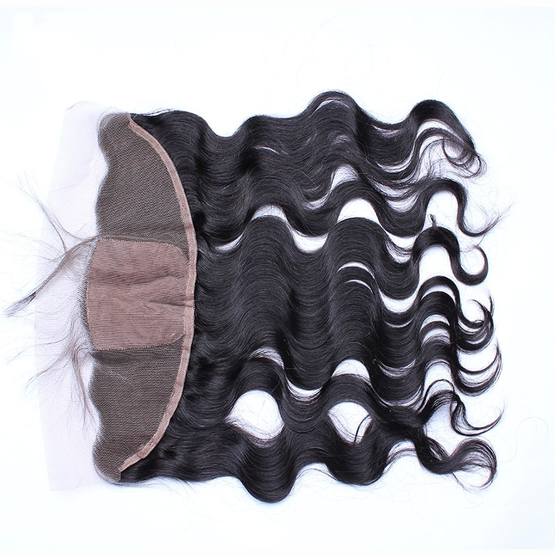 DLME Body Wave Silk Base Closure Brazilian 13X4 Lace Frontal Closure With Baby Hair Virgin Natural Hairline