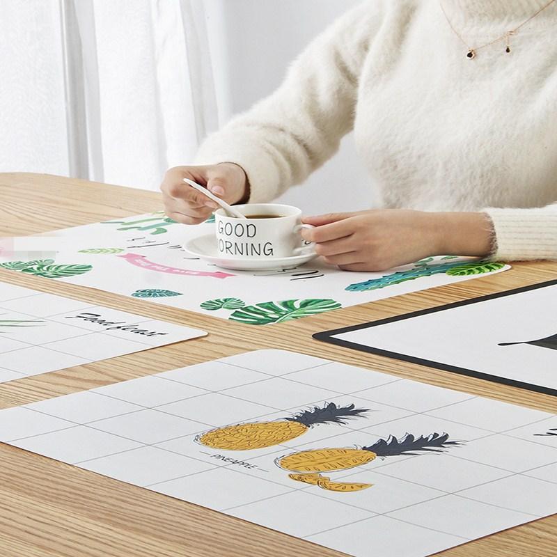 Mantel Individual antideslizante de 30*45cm, mantel de mesa impreso impermeable, mantel de plástico PP con aislamiento térmico para vajilla, accesorios de cocina