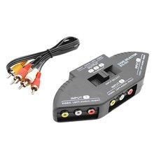 Répartiteur Audio vidéo AV RCA 3 voies séparateur Composite noir avec 3 RCA