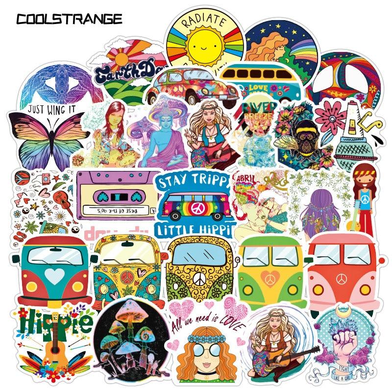 50 unids/paquete de pegatinas coloridas de paz Hippie para motocicleta, monopatín, bicicleta, maleta para portátil, guitarra, casco, pegatinas